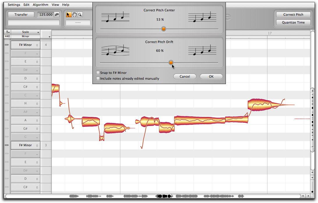 Melodyne 4 di Celemony è in grado di reintonare una performance vocale inaccurata, migliorandola dal punto di vista del tempo e dell'intonazione.